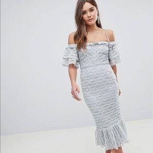 NWT ASOS Linear Lace Pencil Midi Dress with Ruffle